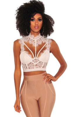 White Lace Strappy Bustier Crop Top