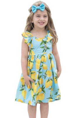 Aqua Blue Lemon Print Girls' Sundress