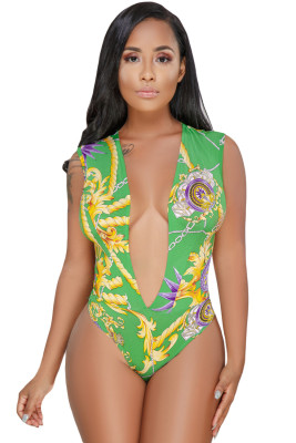 Green Gold Chain Print Daring Sexy Bodysuit