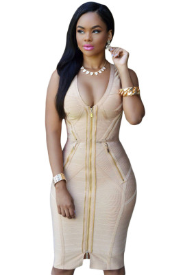 Gold Zipper Apricot Luxe Bandage Dress