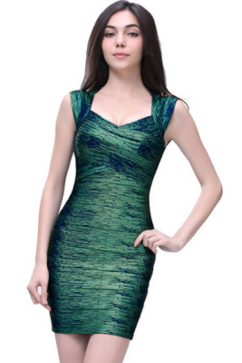 New Fashion Green Foil Print Bandage Dress Celebrity Style