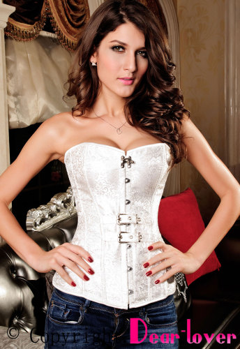 Luxurious Pteris Jacquard Corset White LC5284