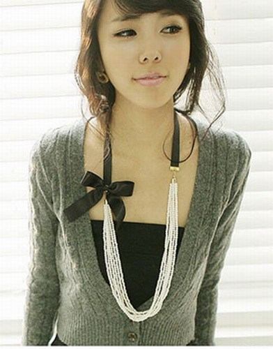 Multi Pearl Chains Satin Bow Sweater Necklace