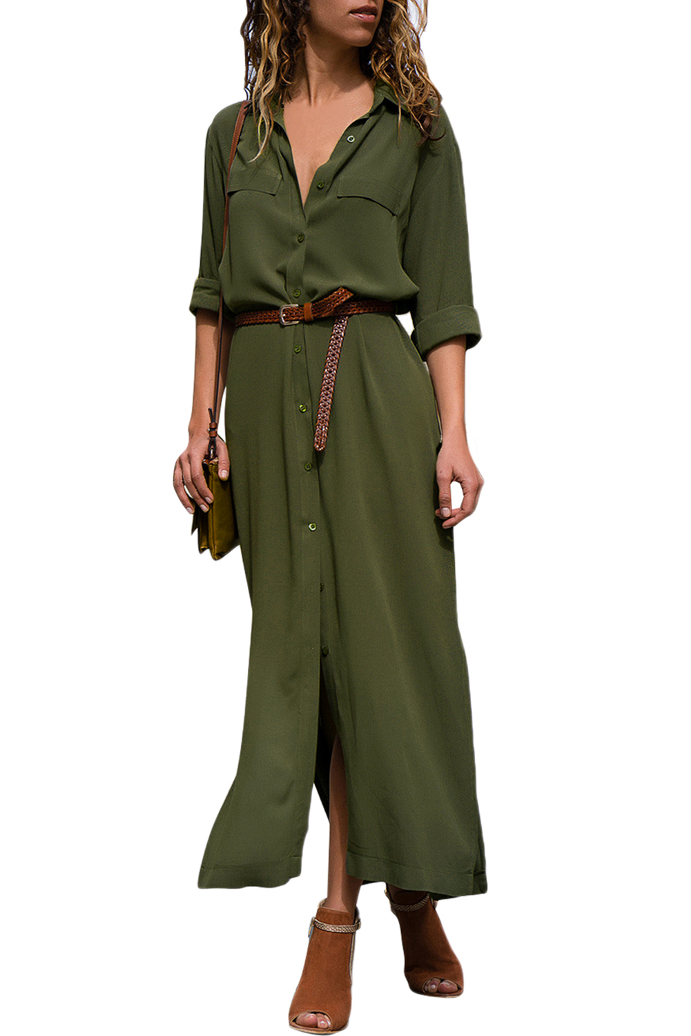 Hot Army Green Slit Maxi Shirt Dress with Sash Online