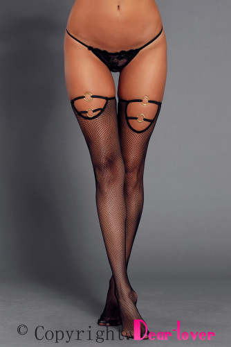 Gold O-ring Strappy Detail Black Sheer Mesh Stockings LC790029