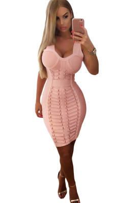 Pink Embellished Midi Bandage Dress