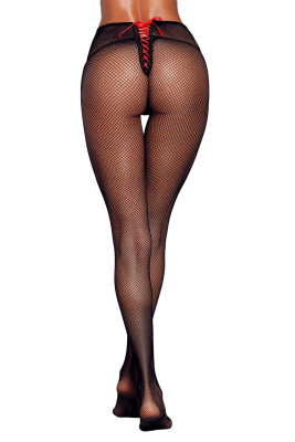 Satin Lace-up Detail Black Fishnet Pantyhose