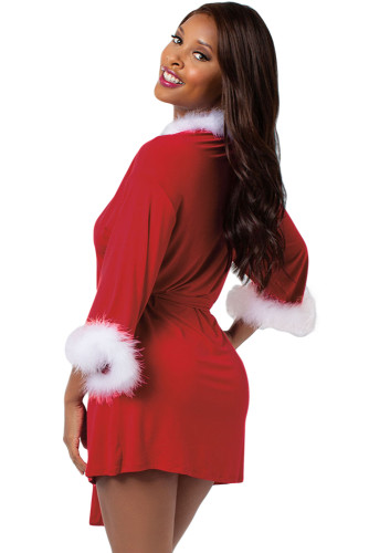 Marabou Trimmed Red Christmas Robe LC720004