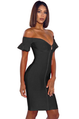 Black Off Shoulder Flared Sleeve Front Zip Bandage Dress