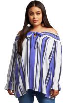 Blue Striped Plus Size Off Shoulder Blouse