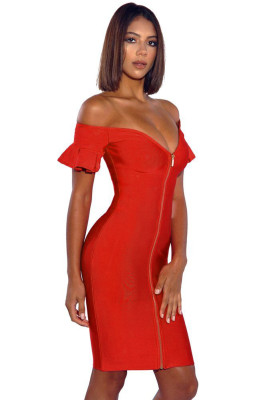Red Off Shoulder Flared Sleeve Front Zip Bandage Dress