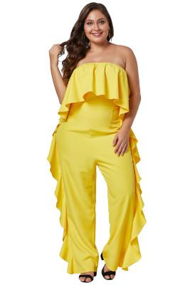 Cobalt Yellow Prime Dreams Plus Size Strapless Ruffle Jumpsuit