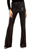 Black Eye-catching Sequin Wide Leg Pants