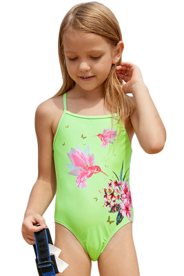 Neon Green Floral and Birds Little Girls One-piece Swimwear