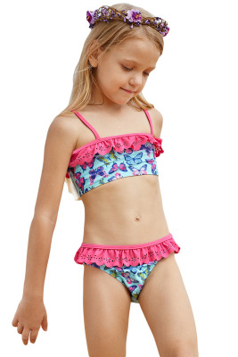 Sweet Butterfly Print Ruffle Child Girls Bikini Swimwear