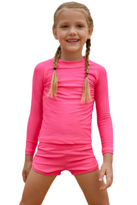 Rosy Long Sleeve Rash Guard for Little Girls