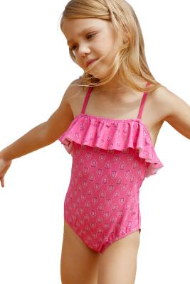 Little Girls Crisscross Open Back Printed One-piece Swimsuit