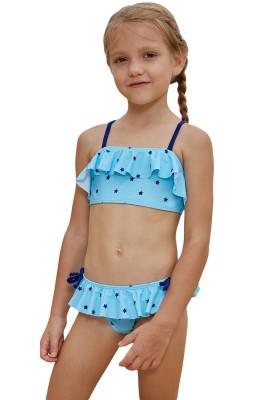 Little Stars Print Turquoise Little Girls Bikini