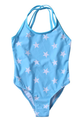 Duplicate Straps Stars Print Blue Monokini for Kid Girls