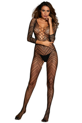 3/4 Sleeve Criss Cross Chevron Bodystocking