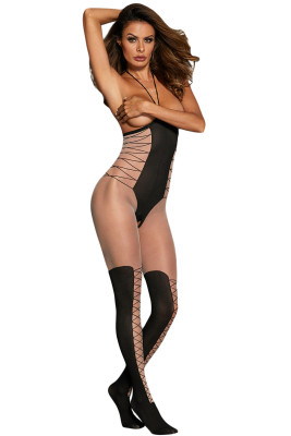 Sexy Halter Cupless Waist Cincher Bodystocking