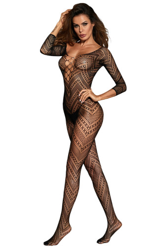 3/4 Sleeve Criss Cross Chevron Bodystocking LC790070