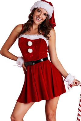 Red Diamond Velvet 4pcs Christmas Costume Set