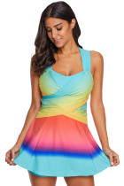 Turquoise Ombre Tie Dye Swim Dress with Shorts
