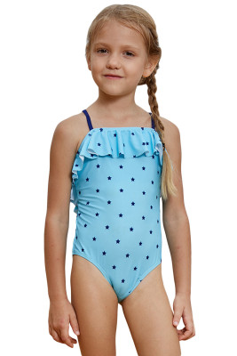 Little Stars Print Turquoise Little Girls Maillot