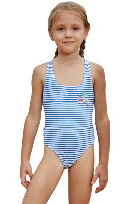 Blue Nautical Stripes Toddler Girls Maillot Swimwear