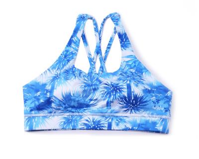 Blue Printed Yoga Bralette Sport Bra