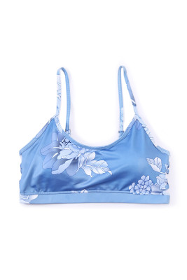 Blue Floral Strappy Sport Bra Top