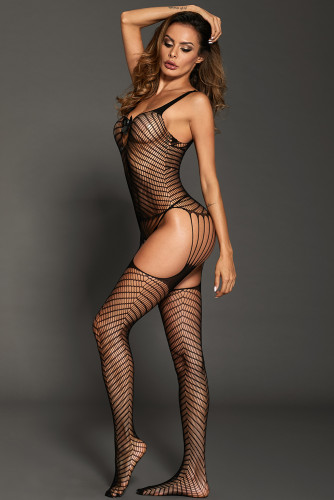 Bowknot Applique Hollow-out Chevron Print Bodystocking LC790077