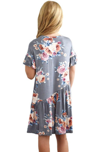 Gray Girls Floral Print Dress TZ22061