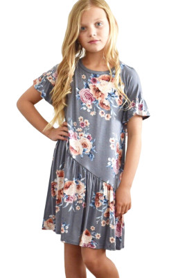 Gray Girls Floral Print Dress