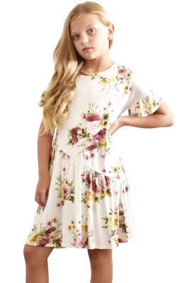 White Girls Floral Print Dress
