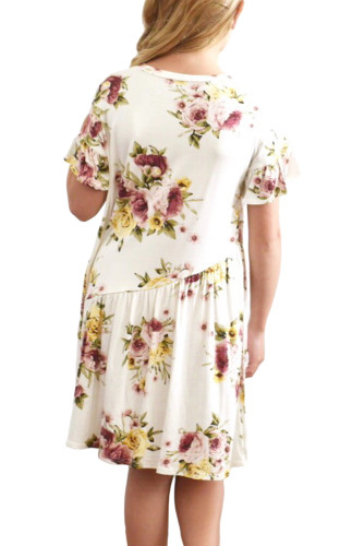 White Girls Floral Print Dress TZ22061
