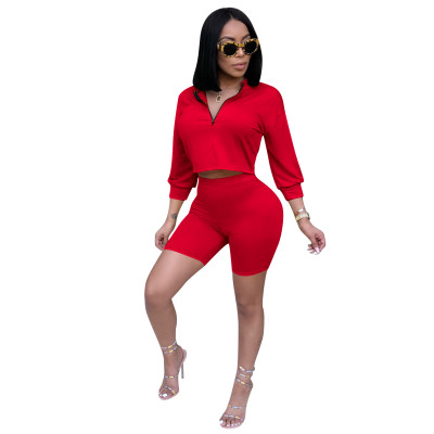 Red Sports Casual Stand Collar Zipper Two Pieces Pant Set