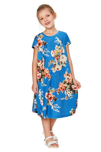 Blue Short Sleeve Floral Print Toddler Dress