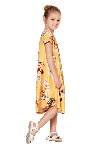 Yellow Short Sleeve Floral Print Toddler Dress TZ61043