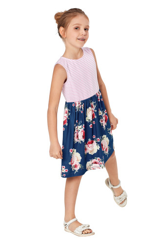 Blue Toddlers Floral and Striped Tank Dress TZ22049