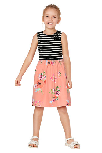 Pink Toddlers Floral and Striped Tank Dress TZ22049