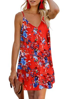 Orange Floral Pattern Buttoned Slip Cami Dress