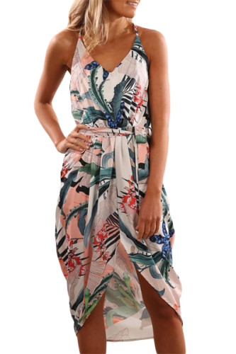 Sky Blue Deep V Neck Summer Floral Print Dress