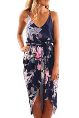 Blue Deep V Neck Summer Floral Print Dress