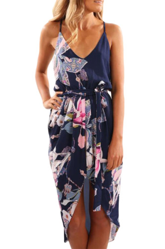 Blue Deep V Neck Summer Floral Print Dress
