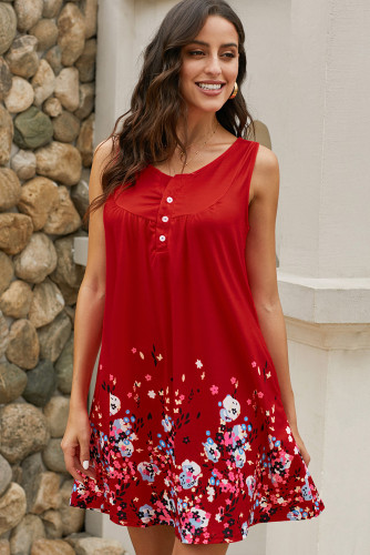 Red Crew Neck A-Line Daily Beach Floral Dress LC220714