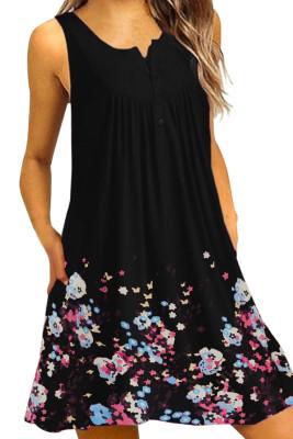 Black Crew Neck A-Line Daily Beach Floral Dress