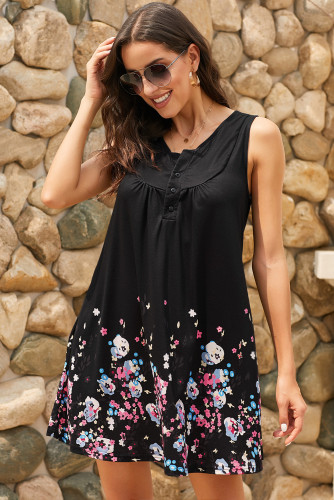 Black Crew Neck A-Line Daily Beach Floral Dress LC220714