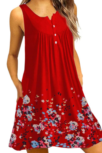 Red Crew Neck A-Line Daily Beach Floral Dress